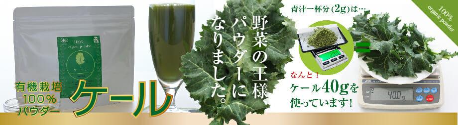 豊富な栄養価で「野菜の王様」とも呼ばれるケール。有機にこだわり丁寧に育て、まるごとパウダーにしました。